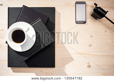 Coffee, Smartphone And Sharpener