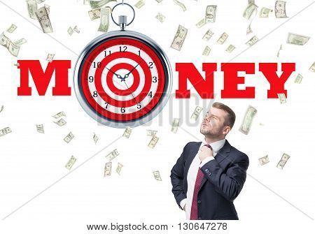 Time is money and targeting concept with confident businessman and dollar rain on white background