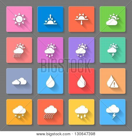 colorful weather icons set with suncloudsrain drops and snowusing to describe weather