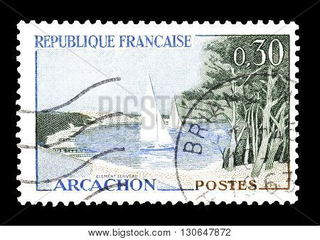 FRANCE - CIRCA 1963 : Cancelled postage stamp printed by France, that shows Arcachon.