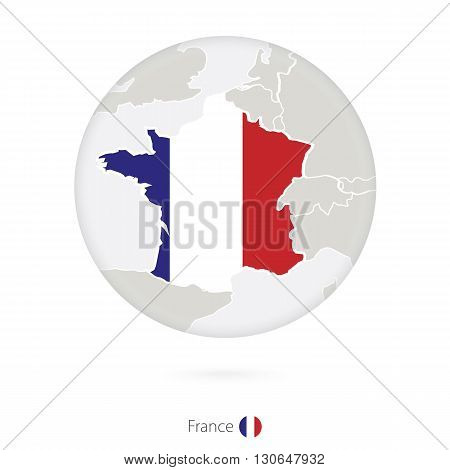 Map Of France And National Flag In A Circle.