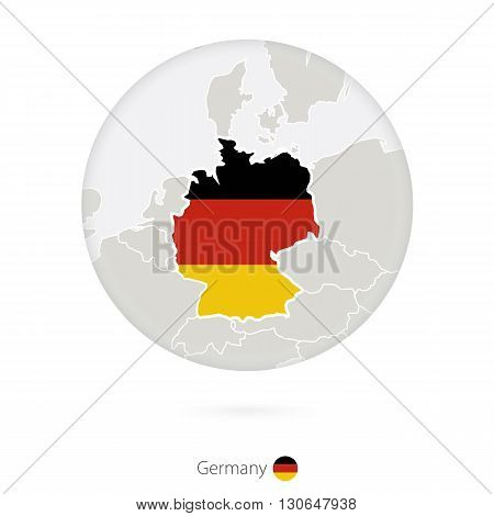 Map Of Germany And National Flag In A Circle.