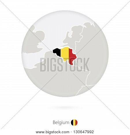 Map Of Belgium And National Flag In A Circle.