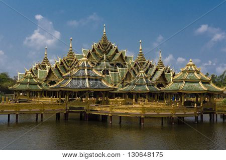 A Pagoda made on stilts sits on the Water