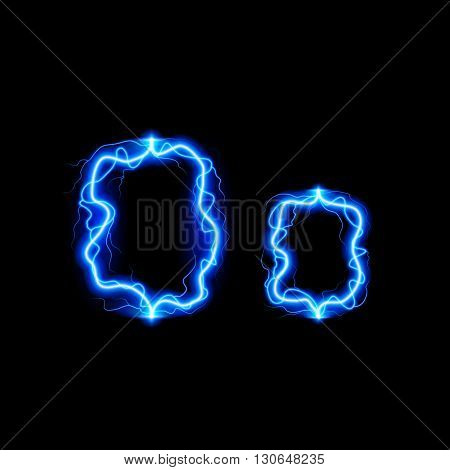 Uppercase and lowercase letters O in lighting style