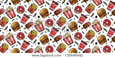 Seamless hand drawn vector background with fastfood symbols. Menu pattern. Vector Illustration with funny food icons on white background. Decorative elements for your packing design. Multicolor decor.