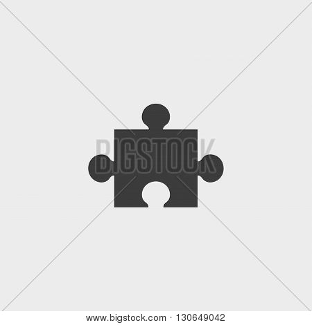Simple puzzle icon in a flat design in black color. Vector illustration eps10