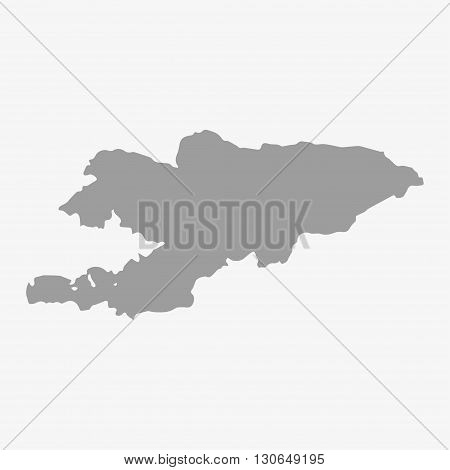 Kyrgyzstan map in gray on a white background
