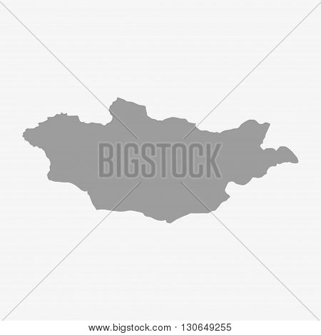 Mongolia map in gray on a white background