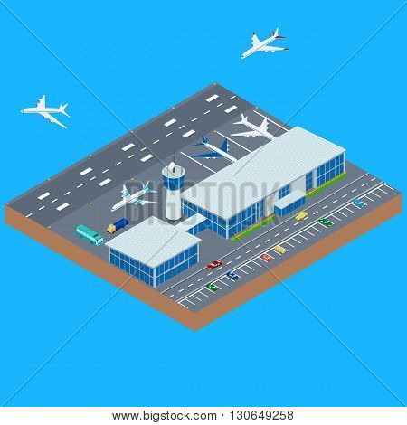 vector illustration. The airport building with parking runway airplane takes off airplane lands. The planes near the airport bus car. infographics isometric.