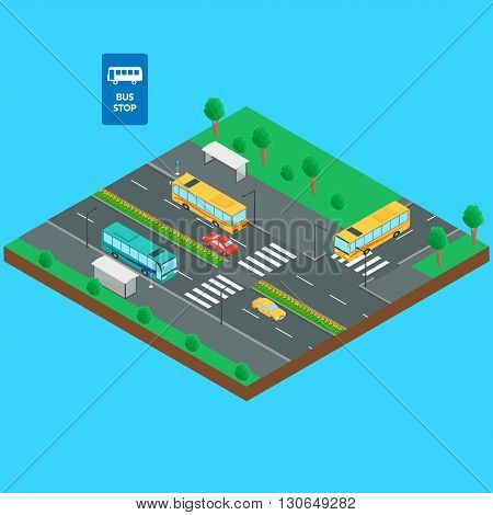 Vector illustration. Bus stop and road. Bus bus stop cars bus stop sign