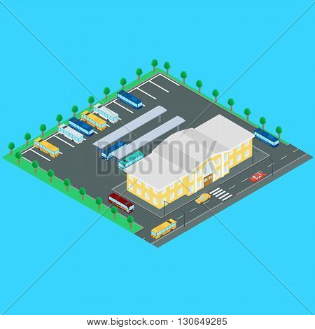 vector illustration. bus station. Buses bus stop Parking. Building bus station road machine. Infographics isometric