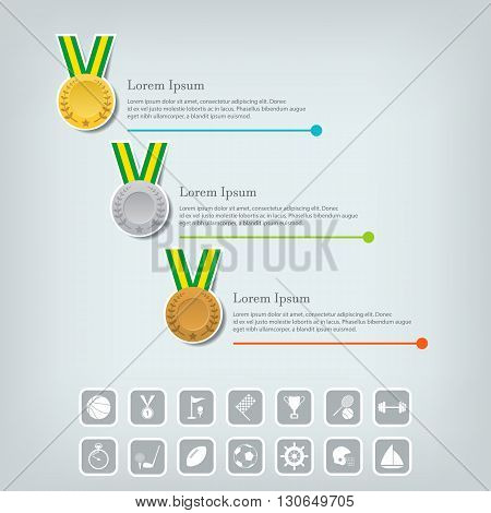 Trophy Cups and award concept. Champions or winners cups icons. Sport Infographic with icons. Vector illustration.