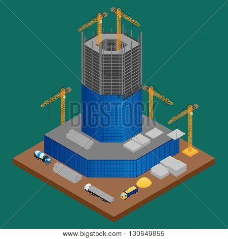 vector illustration. building site with building under construction skyscraper. A concrete mixer crane truck with building materials. isometric infographic