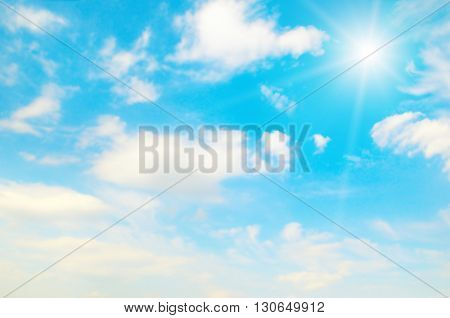 A blurred blue sky background and sun