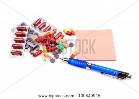 set of pills isolated on white background