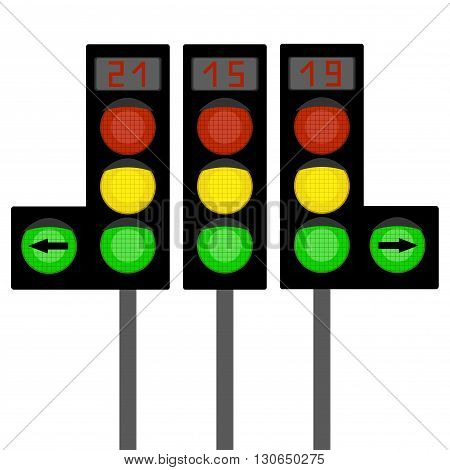 Traffic light, traffic light sequence . traffic lights with digital indicator .