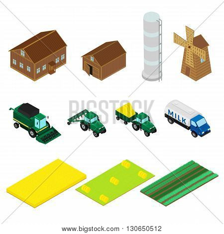 vector illustration. Set of icons of farm buildings and agricultural machinery. House barn windmill tractor harvester. isometric infographic