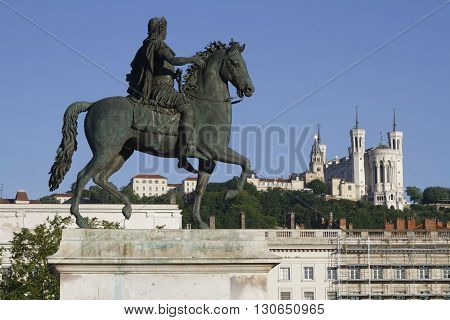Lyon, France, May 21, 2016 : Equestrian Statue Of Louis Xiv On The Place Bellecour. Place Bellecour