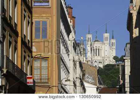 Lyon, France, May 21, 2016 : Fourvière Basilica, Dedicated To The Virgin Mary, Dominates The Streets