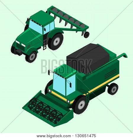Vector illustration. Combine for harvesting and tractor with plow isolated.