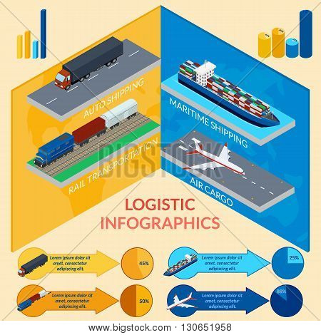 vector illustration. Infographics of delivery. Logistics. Freight train ship plane truck. Isometric 3D