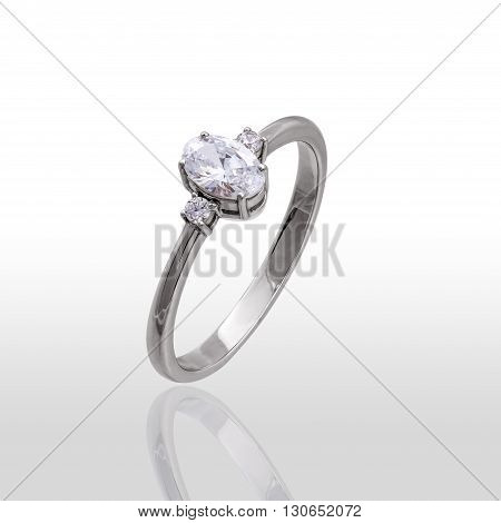 The beauty wedding ring made of white gold. Isolated on white background.