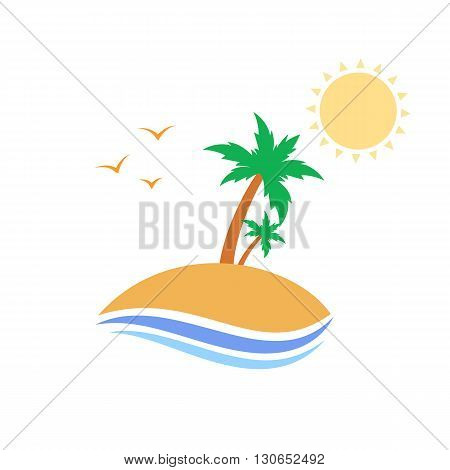 Tropical island with palm trees vector design