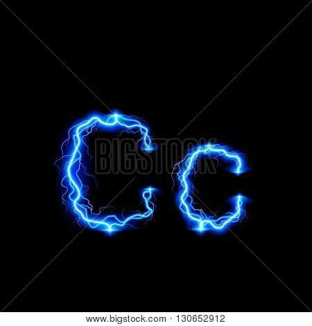 Uppercase and lowercase letters C in lighting style