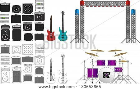 Big festival or concerts stage equipment set, different amplifiers  in color and outlined, generic guitar, generic bass, set of light rigs and a big drum kit.