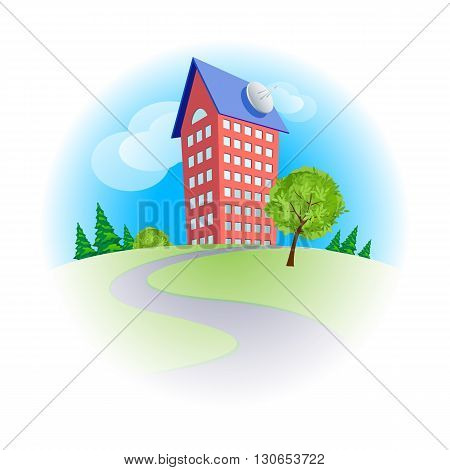 Cute cartoon multistorey house among trees in sunny day