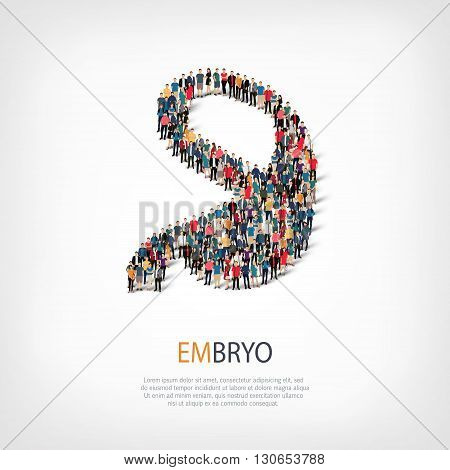 Isometric set of styles, embryo , web infographics concept  illustration of a crowded square, flat 3d. Crowd point group forming a predetermined shape. Creative people. - Vector Illustration. Stock vector.3D illustration.