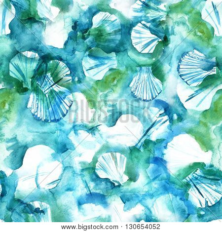A teal blue seamless watercolor texture with shell shapes; an abstract background