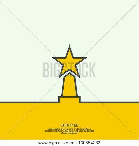 The award, star winner on the podium. Concept of success, winning. minimal. Outline