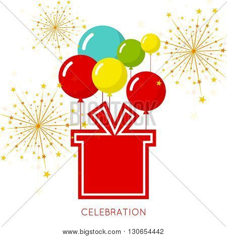 Abstract background with balloons and gift. Place for text congratulations.