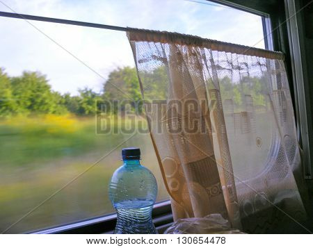 Train journey - view from the window railway carriage