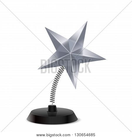 Table souvenir in form of glossy silver star on spring
