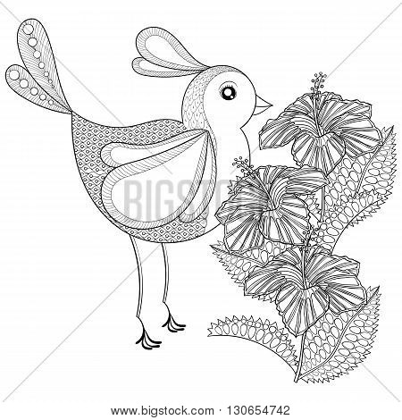 Hand drawn zentangle tribal Exotic Bird and Hibiskus flower for adult anti stress coloring pages, t-shirt print. Boho, bohemian style. Isolated illustration in doodle, henna tattoo design.