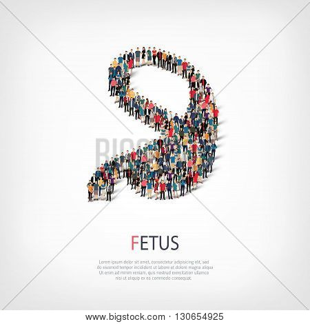 Isometric set of styles, fetus , web infographics concept  illustration of a crowded square, flat 3d. Crowd point group forming a predetermined shape. Creative people. - Vector Illustration. Stock vector.3D illustration.