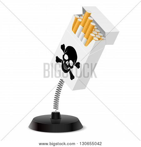 Table souvenir in form of cigarettes pack with black skull on spring
