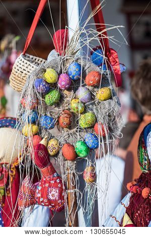 SOCHI, RUSSIA - 20 MAY, 2014. Composition with Easter eggs. The picture was taken at the Festival Of Cultures Russia-ASEAN.