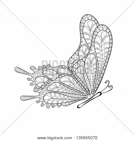 Hand drawn zentangle tribal flying butterfly for adult anti stress coloring pages, post card, t-shirt print, logo icon. Boho, bohemian style. Isolated illustration in doodle, henna tattoo design.