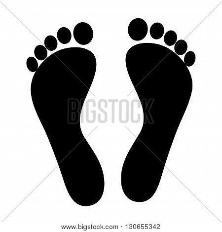 The black silhouette of footprints on a white background. Vector illustration.