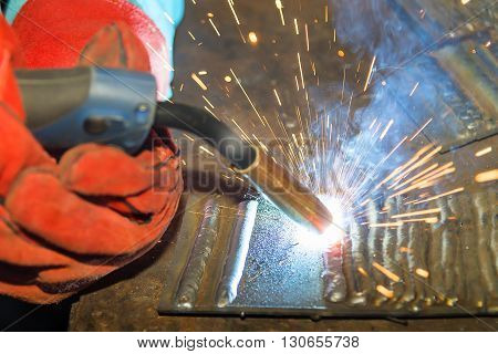 the welding spark light in close-up scene
