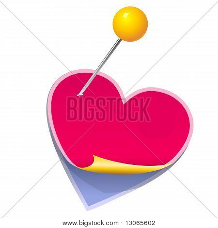 Vector Stickers In The Shape Of A Heart Pinned Clerical Pin
