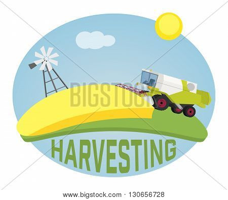 Combine harvester on a wheat field against sun. Farm rural landscape, vector background