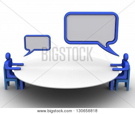 Negotiation. Symbolic people with clouds dialogue sit in front of each other at the round table conference. Isolated. 3D Illustration