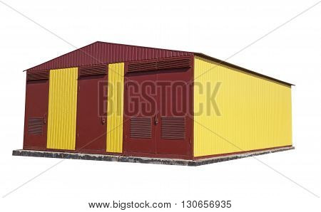 Power station industrial building on a white background
