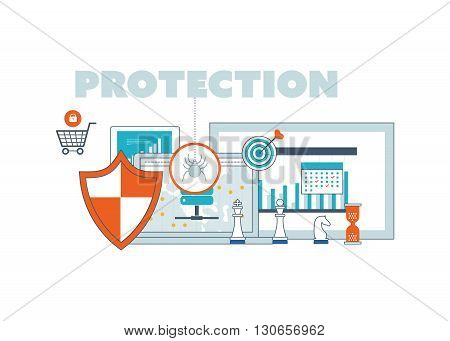 Flat shield icon. Data protection concept. Social network security. Investment security. Color line icons