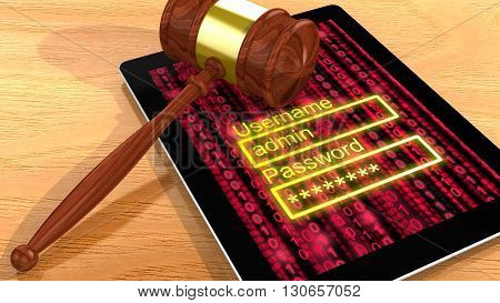 Gavel on a digital tablet with a red digital background screen and a password entry 3D illustration cybercrime concept closeup